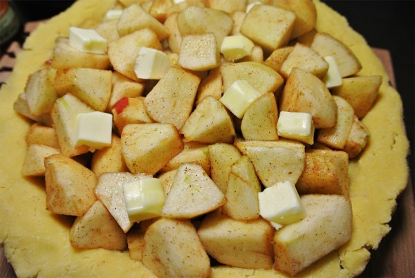 Place your apples onto the crust as soon as the top crust is ready (this prevents a soggy bottom)