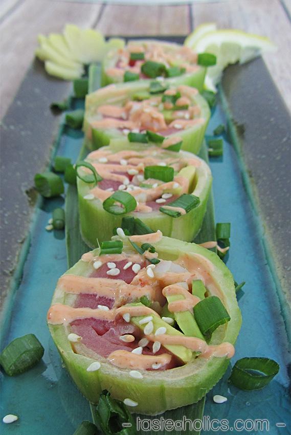 Low Carb Cucumber Sushi Rolls