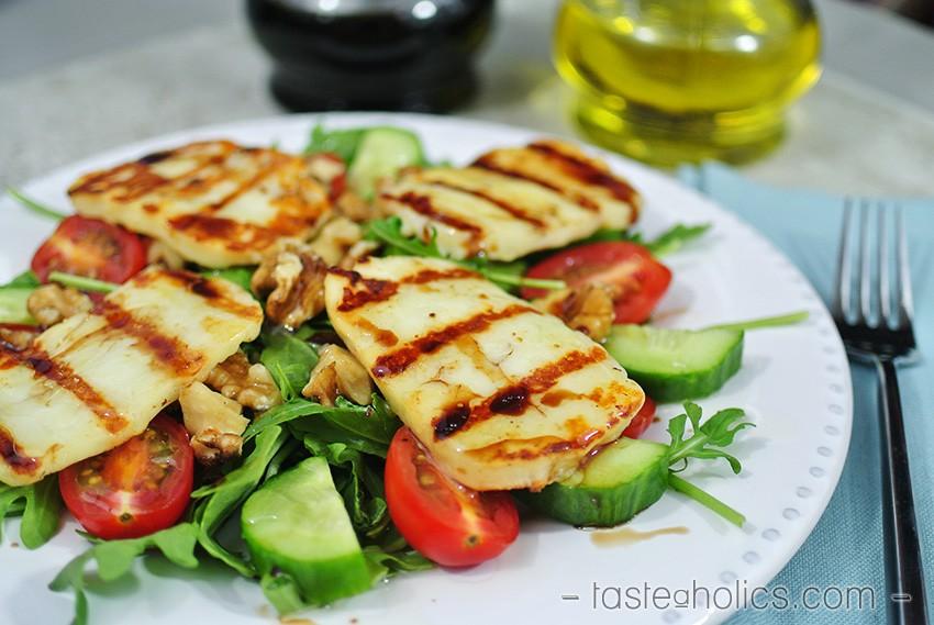 Grilled Halloumi Salad Low Carb Vegetarian