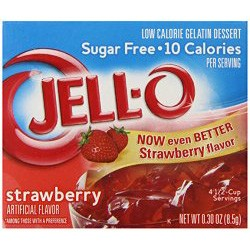 Jell-O Sugar-Free Gelatin Dessert, Strawberry, 0.3-Ounce Boxes (Pack of 6)