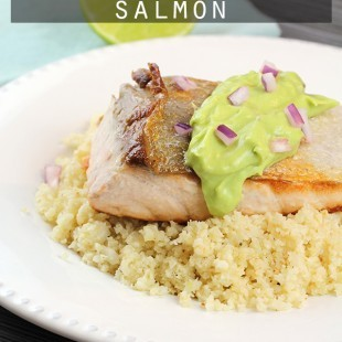 Avocado Lime Salmon - A 5 ingredient, low carb, paleo & gluten free dinner recipe!