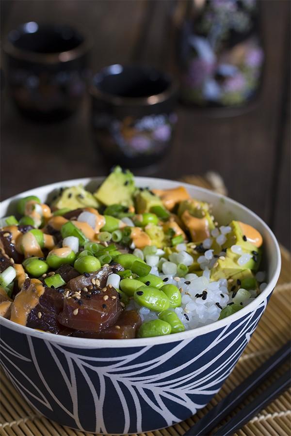 Spicy Tuna Poke Bowl - Low Carb, Gluten Free and Paleo Friendly Recipe