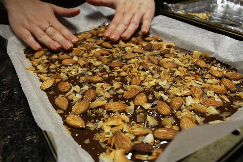 Press almonds and coconut