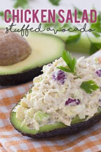 Chicken Salad Stuffed Avocado - Low Carb & Gluten Free Lunch Idea - 5 Ingredients, 5 Grams of Net Carbs!