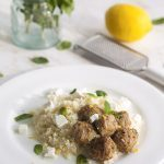 Mediterranean Lamb Meatballs with Cauliflower Pilaf