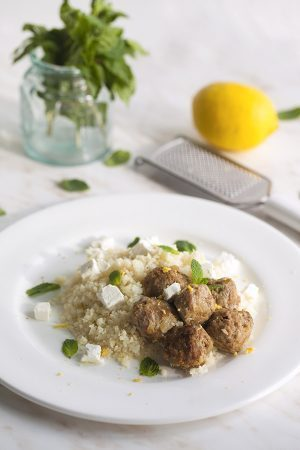 Mediterranean Lamb Meatballs with Cauliflower Pilaf