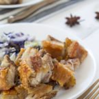 Roasted Pork Belly Bites with Braised Cabbage