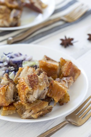 Keto Roasted Pork Belly Bites with Braised Cabbage