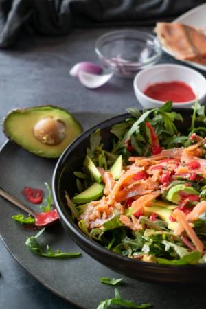 Keto Smoked Salmon, Arugula and Avocado Salad